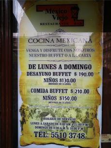Mexico Viejo Menu 1